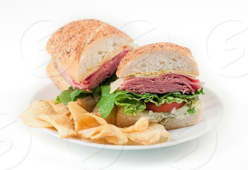 deli sandwich with chips photo