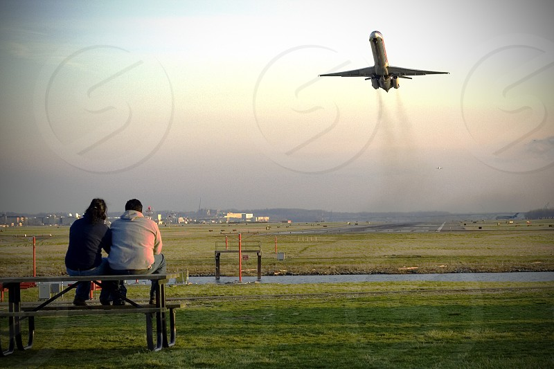 Washington D.C. Ronald Reagan airport couple sunset love air takeoff airplane  photo