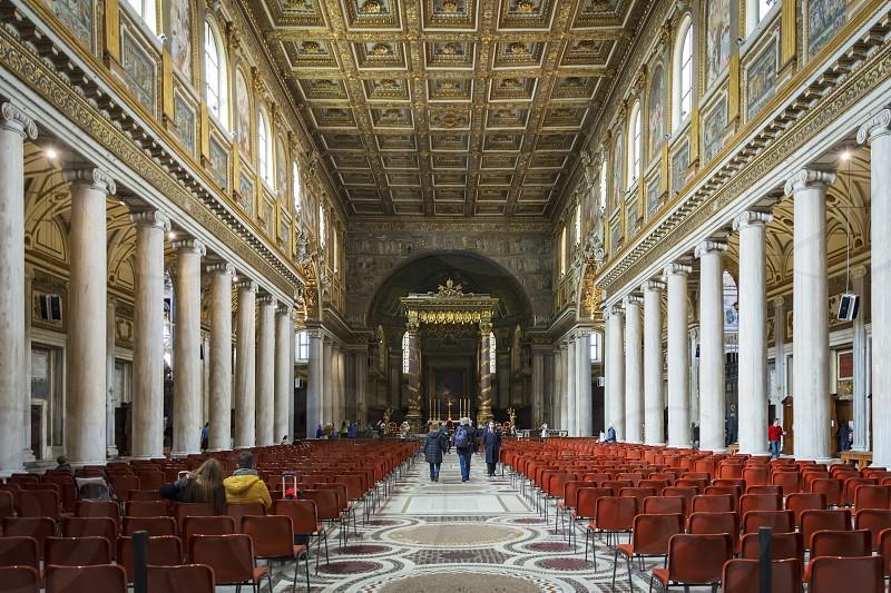 Rome Italy April 2017: interior of the Basilica of Santa Maria Maggiore in Rome photo