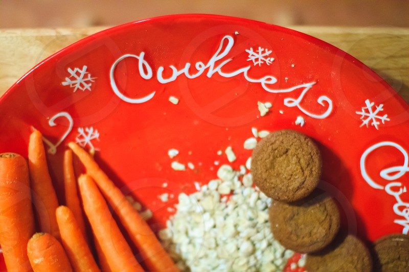 Christmas Cookies for Santa carrots and oats for reindeer photo