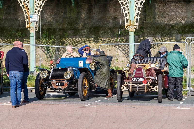 Cars just finished London to Brighton Veteran Car Run photo