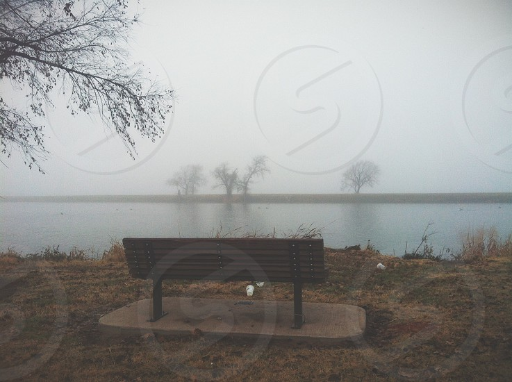 brown bench near lake with fog photo