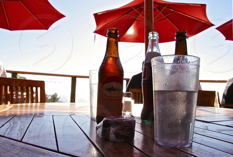 Big Sur drinks relaxing post-hike ocean-view umbrellas sky table snacks refreshments photo