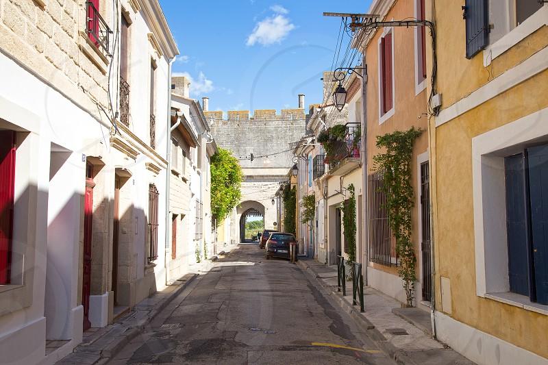 Landscape image of Aigues-Mortes village South of France photo
