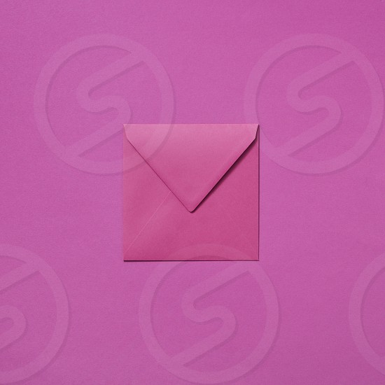 Handmade envelope for greeting post card. Mock up with copy space. Top view. photo