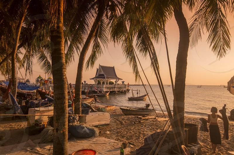 the Fishing Beach at the Lang Beach Public Park at the Bang Saen Beach at the Town of Bangsaen in the Provinz Chonburi in Thailand.  Thailand Bangsaen November 2018 photo