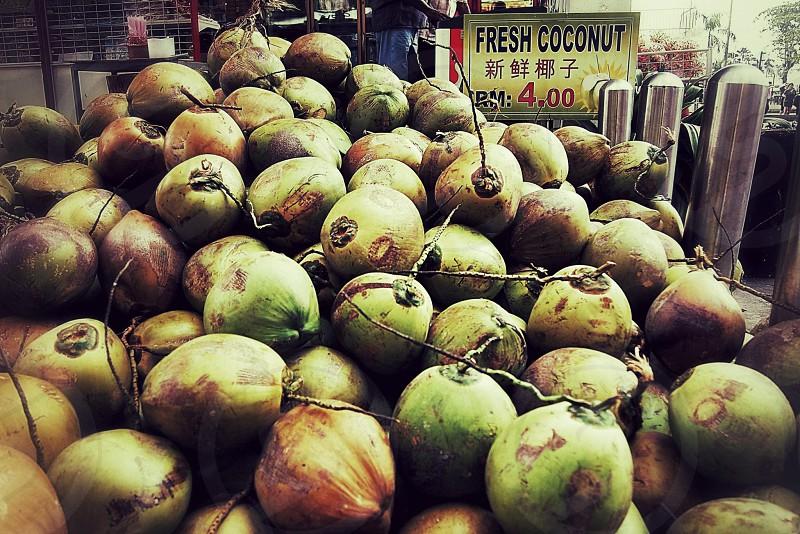 fruit exotic market food stalls coconut photo