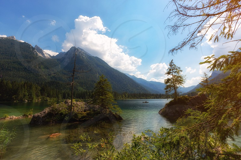 Morning lake forest mountain alps Germany Deutschland Hintersee summer sunset Clearwater  photo