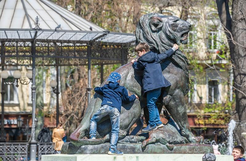 Odessa Ukraine - 04.20.2019. Springtime in the City garden the historic center of Odessa Ukraine photo