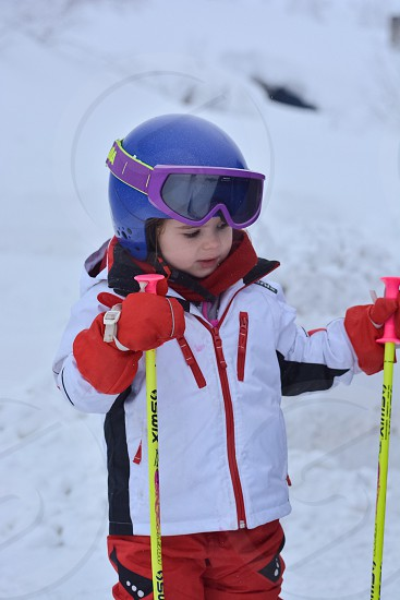 4 year old girl skiing... photo