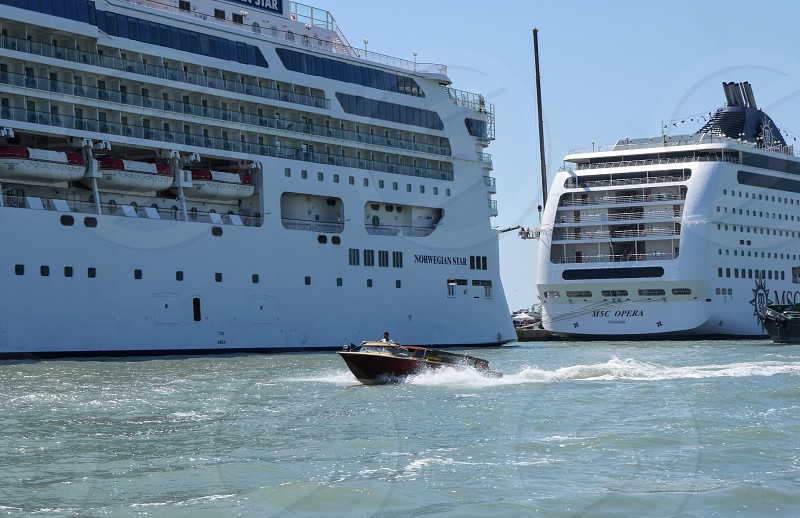 Cruise ships ancored in harbour Mediterranean photo