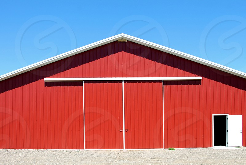 Modern red metal barn /shed photo