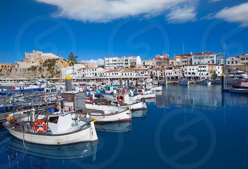 Ciutadella Menorca marina Port view and Ayuntamiento Town hall Balearic Islands photo