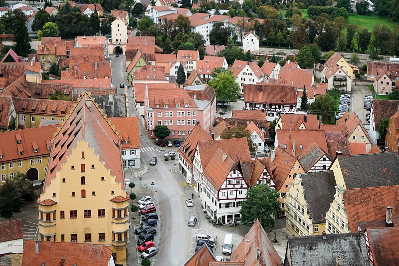 Aerial view of the skyline of Nordlingen Bavaria  in Germany photo