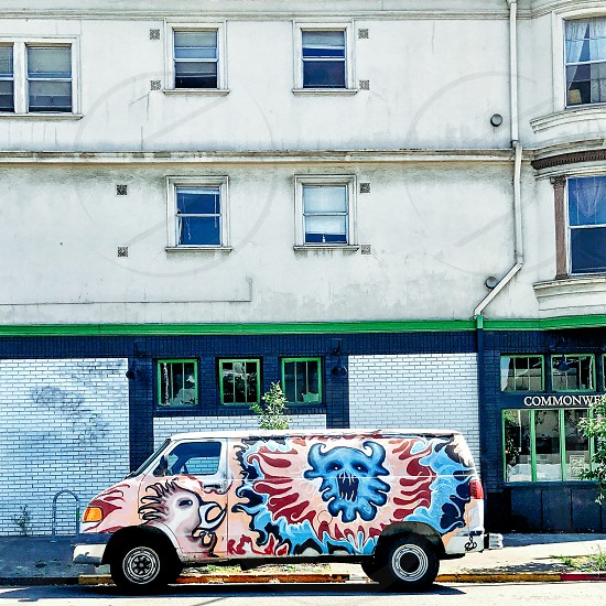 Van painted with graffiti  photo