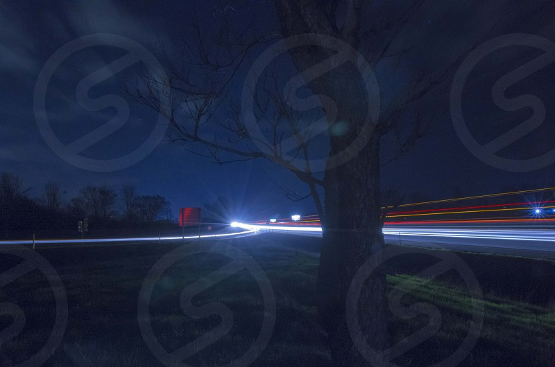 Exit ramp at night photo