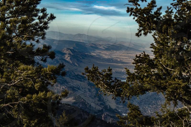 Boulder Colorado mountains trees view landscape photo