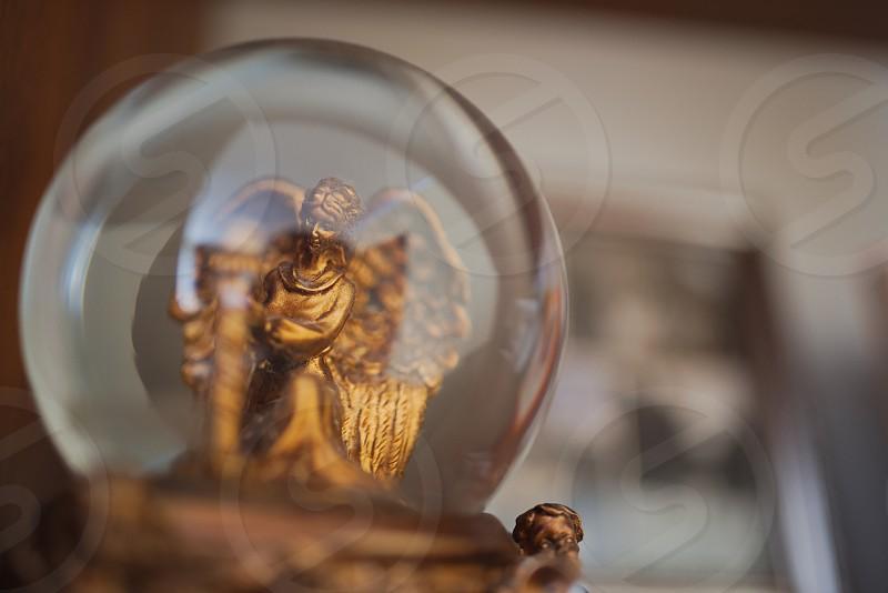 Golden Angel Snow Globe on the Shelf photo