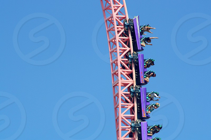 People in a roller coaster drop vertically as their hands are above there heads. photo