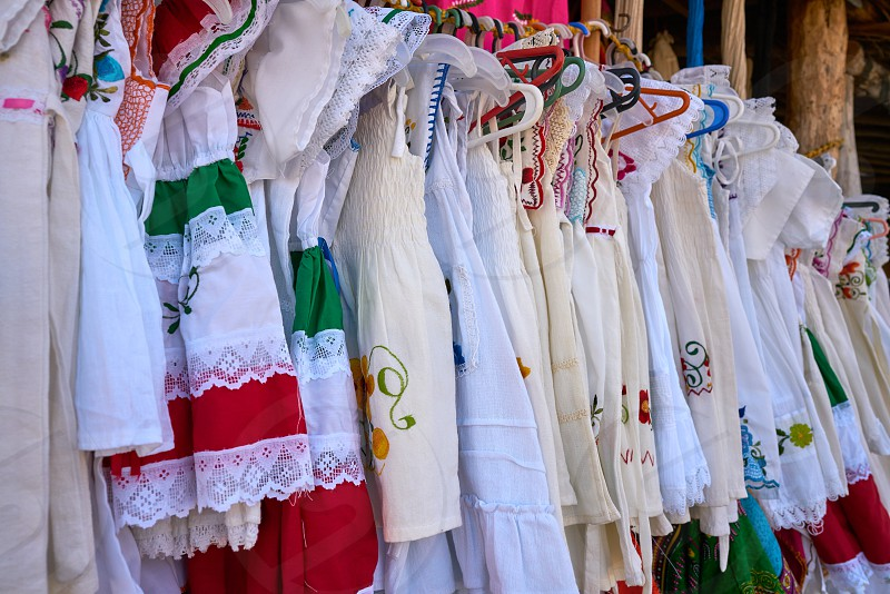 Embroidered Mayan dresses in Mexico Riviera Maya photo
