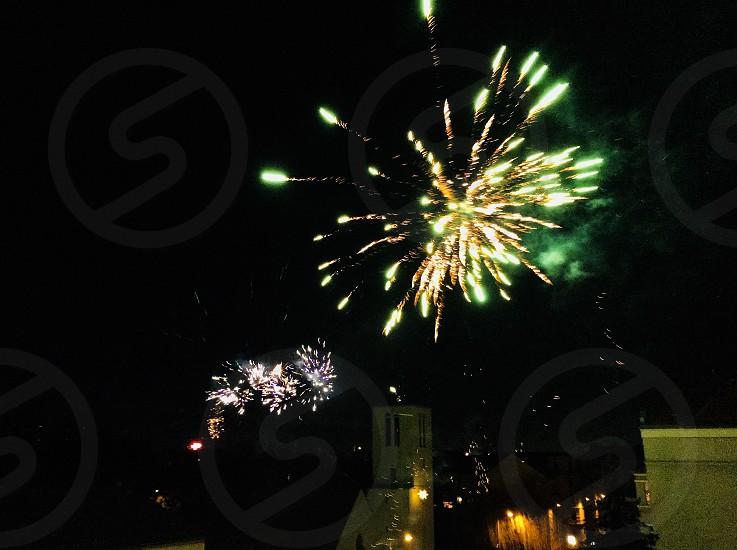 New Year's Eve fireworks party lights night dark celebration Silvester photo