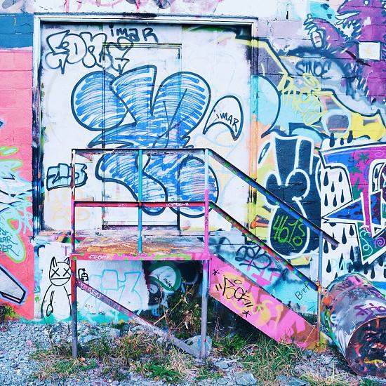 multicolored metal railing photo