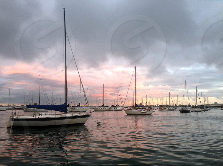 Sailboats in Monroe Harbor Chicago during sunset after a storm. photo