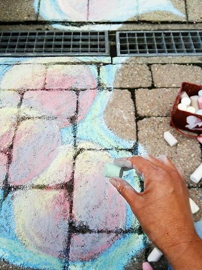 painting the sidewalk my city life photo