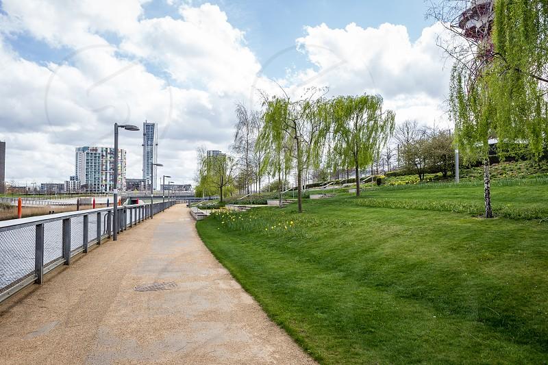Riverside walk Olympic Park Stratford London photo