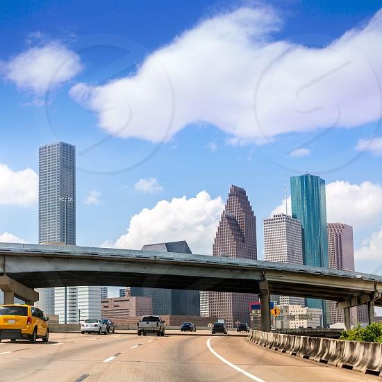 Houston skyline from Gulf Freeway I 45 interestate traffic at Texas US USA photo