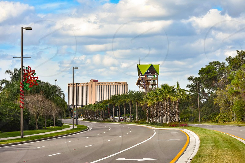 Orlando Florida. December 28 2018. Rollercoaster Panoramic view in International Drive area photo