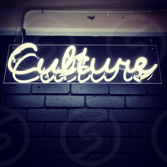 Culture neon sign. signage lights photo