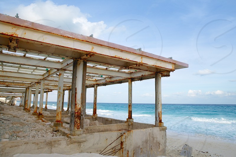 Cancun Caribbean houses after hurricane storm crash disaster    photo