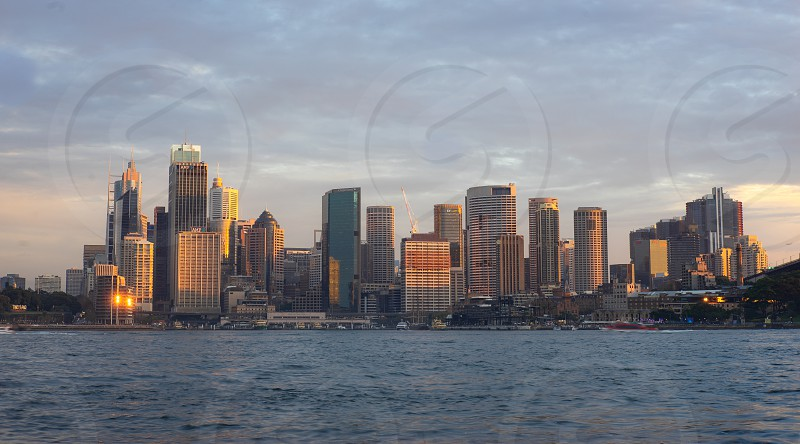View of Buildings in city of Sydney during sunset time  The famous  Iconic city view of Sydney from Kirribilli point. Australia 11/06/18 photo