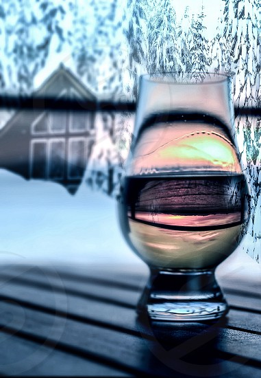 Composite whiskey and snow photo