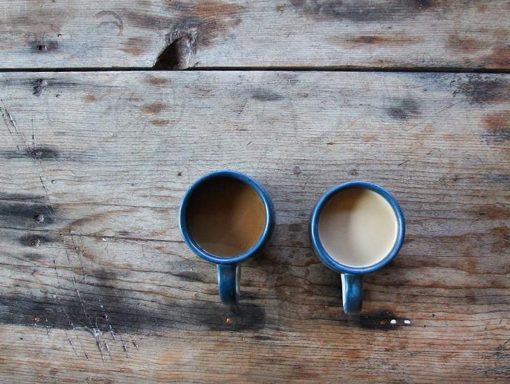 coffee // his and hers // woodgrain photo