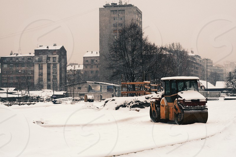 City covered by snow photo