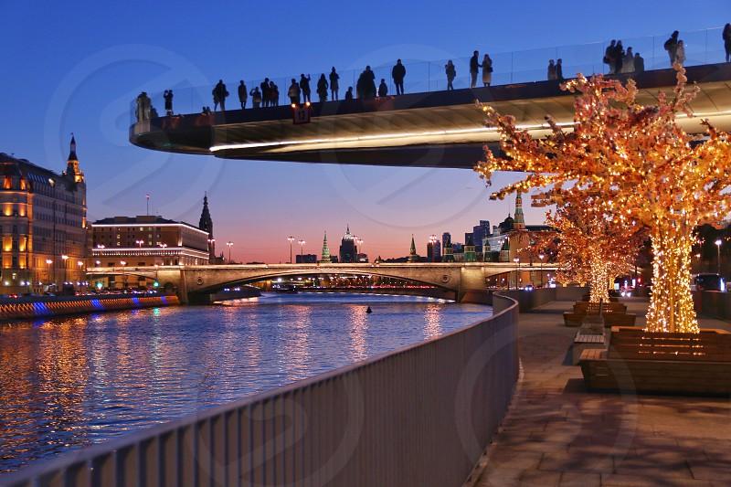 Bridge city night sunset  photo