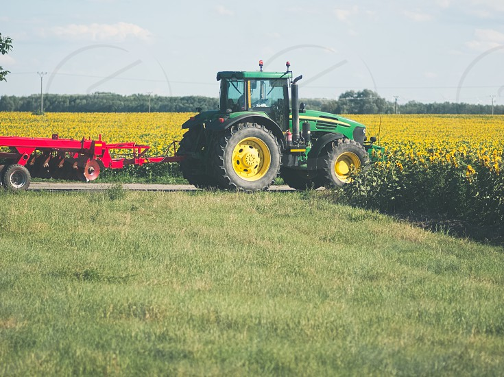 Green Tractor with Red Harrow at Sunflower Field photo