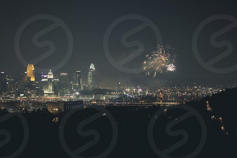 fireworks over the city skyline  photo