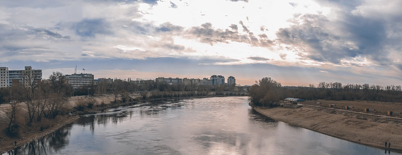Panoramic view of the city and the Dniester River in the city of Tiraspol Transnistria Moldova photo