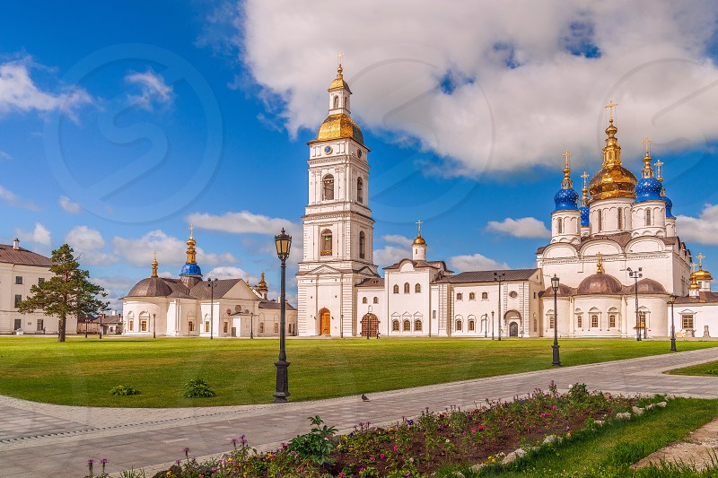 View of the churches of the Tobolsk Kremlin. Tyumen region. Russia. St. Sophia-Assumption Cathedral on the right photo