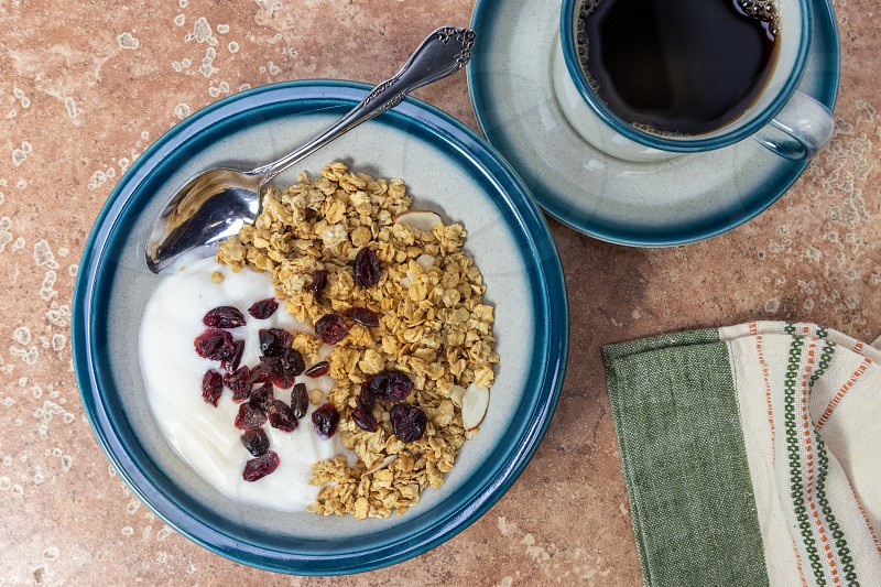 Bowl of Granola with cranberries on top photo