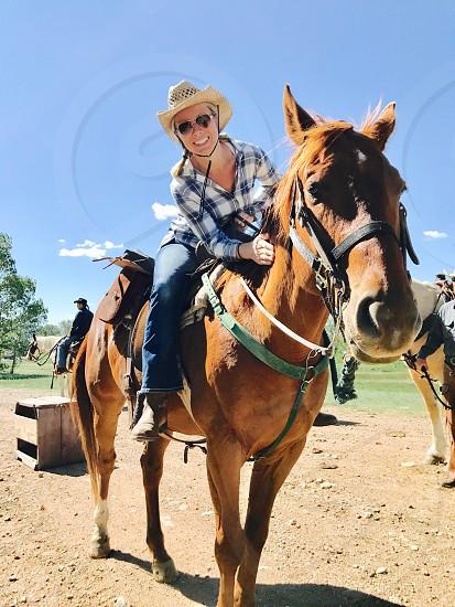 Summer fun horseback trail ride smile adventure  photo