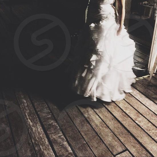 white tulle and silk wedding dress photo