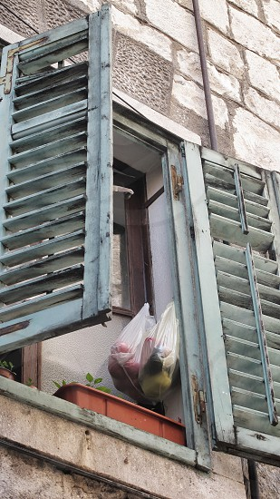 Fruits and vegetables hanging in plastic bags in a faded shuttered window in old town photo
