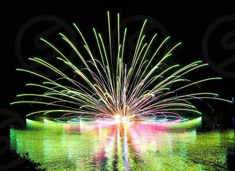 'Fireworks over city' (6)  Fireworks Fireworks over city Fireworks on water Reflection New Year City Sparkling Shinning Colorful Night view Horizontally long Laterally long Oblong photo