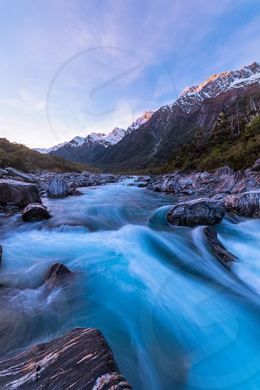 Copland river at Welcome Flat Hut photo