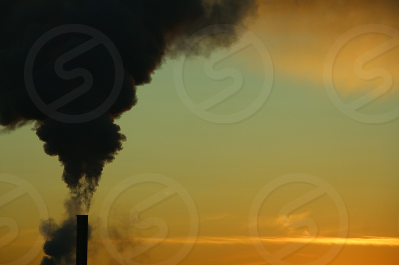pollution  sunrise  sky golden hour  smoke  fire  tower  cooling condensation  steam  industry  photo