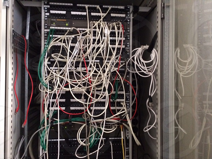 Wires routers and servers photo